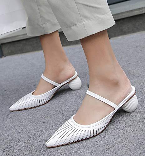 Para Mujer Y Femeninas Puntiaguda Verano white Tacones Estilo Sandalias Altos Tacón Medio Forma Alto 39 Una Un Con White De Pulg Aguja IwvAAqt