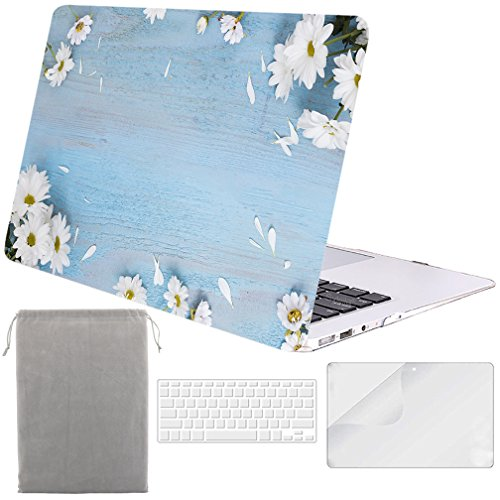 (Sykiila for MacBook Air 13 Inch Case (for 2010-2017 Old Version,Model:A1369 / A1466) Hard Cover 4 in 1 Folio Case + HD Screen Protector + TPU Keyboard Cover + Sleeve - Floral on Wood)
