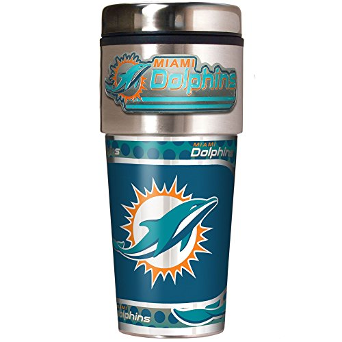 NFL Miami Dolphins Metallic Travel Tumbler, Stainless Steel and Black Vinyl, 16-Ounce -