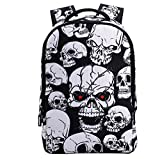 3D Skeleton Skull Cool Backpack Casual Print School Bookbag for Boy's and Girl's (12.2 x 5.9 x 18 inches, White SKull)