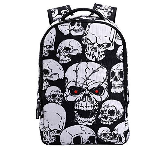 3D Skeleton Skull Cool Backpack Casual Print School Bookbag for Boy's and Girl's (12.2 x 5.9 x 18 inches, White SKull) by Hanshi