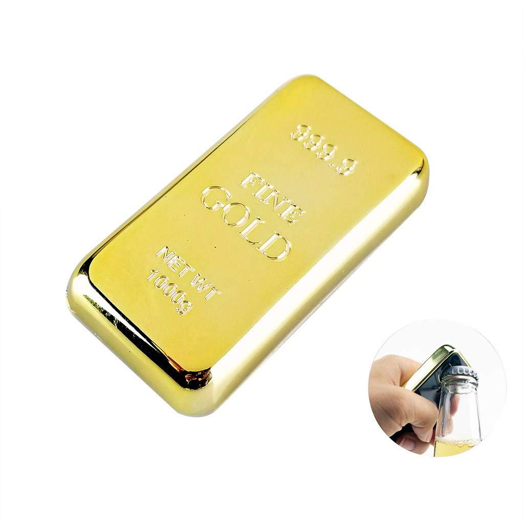 Sannysis Gold Bar Bottle Opener & Magnet Golden Bullion Fridge Beer Bar Kitchen Utensils