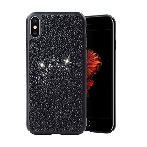 Re iPhone X Case Premium Handmade Bling Crystals Diamonds Rhinestones and Pearls Hybrid Protective Case Cover for Apple iPhone X (iPhone 10) (Black) ()