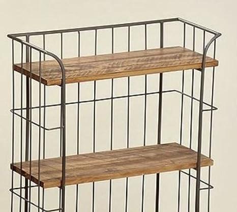 Vintage Industrial estantería de madera carrito de metal retro muebles de almacenamiento ruedas Bebidas carrito grandes estantes estantería pantalla unidad ...