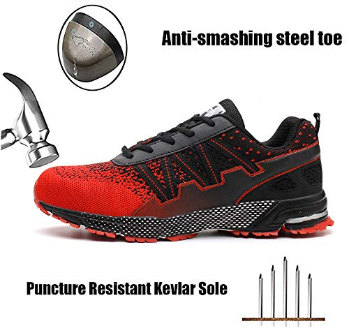 ziitop Steel Toe Mens Safety Work Shoes Indestructible Lightweight Breathable Mesh Safety Shoes Industrial Construction Sneakers for Men