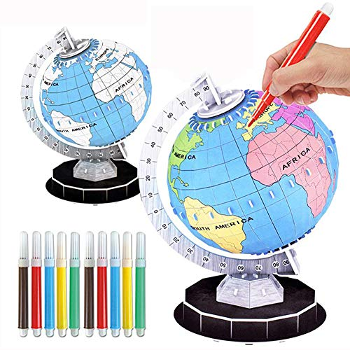 Educational Globes for Kids Drawing Color DIY Assembly Paper Globe Earth Puzzles Learning Toys Geography Desktop Model Diameter 5.6 Inch by XINGXING