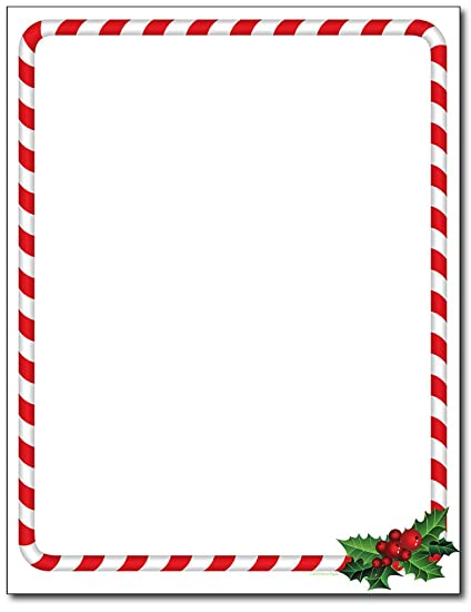 candy cane holly christmas holiday stationery paper 80 sheets