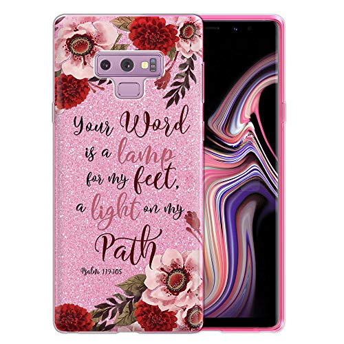 FINCIBO Case Compatible with Samsung Galaxy Note 9 6.4 inch, Shiny Sparkling Pink Bling Glitter TPU Protector Cover Case for Galaxy Note 9 - Christian Bible Verses Psalm 119:105