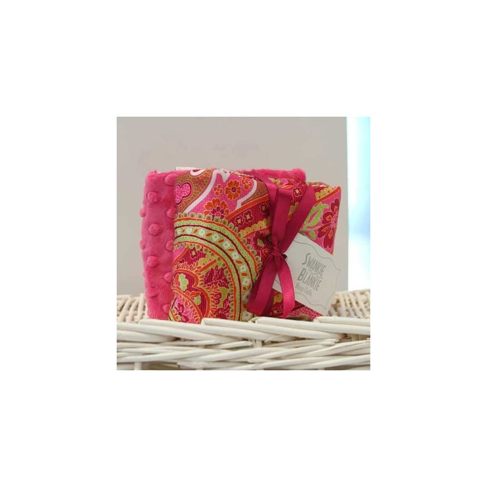 Hot Pink Dot/hot Pink Burp Cloth Set Multi Paisley