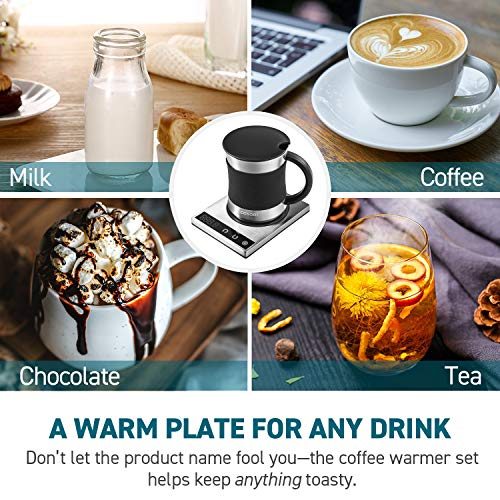 Cosori Coffee Mug Warmer & Mug Set,Electric 24Watt Beverage Cup Warmer for Desk Home Office Use,304 Stainless Steel 17oz Mug w/ Lid,Touch Tech & LED Backlit Display,Ideal for Gift,Coffee,Tea, Hot Cocoa by COSORI (Image #2)