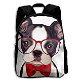 Crazy Popo Toddler Kids Baby Boston Terrier with Red Glasses Preschool Backpack Bags Backpack Lunch Bag