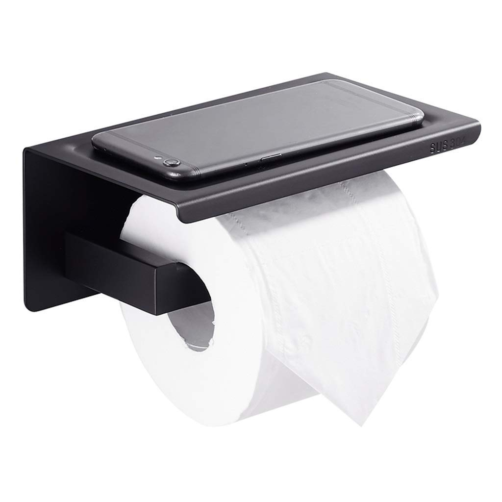 Black Toilet Roll Paper Holder Holder Waterproof Box Wall-Mounted Toilet Roll Holder Storage Paper Release Bathing Roll Holder,Black