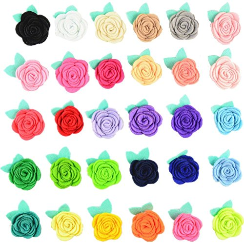 Assorted Colors 30pcs Rose Felt Applique Kits Flower Felt Scrapbooking Non-Woven Stickers Sew on Applique Felt Pads for DIY Handcraft Decoration