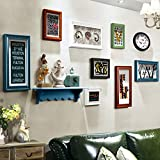 ALUS- 9 Multi Photo Frames Set Wood American Retro Style Creative Portfolio Sofa Background Wall Photo Picture Wall Frame ( Color : #2 )