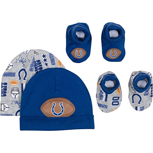 (NFL Indianapolis Colts 2 Baby Caps and 2 Booties Set, 0-6 Months, Blue/Gray)
