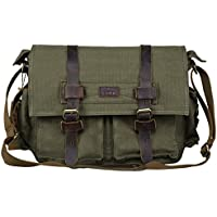 S-ZONE Vintage Canvas Leather Trim DSLR SLR Camera Shoulder Messenger Bag (Green)