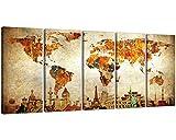 NANwind Xlarge 30″x 70″ 5 Panels 30×14 Ea Art Canvas Print Original Wonders of the World Old Paper Map Vintage Wall Decor Home Interior Artwork p046 Picture