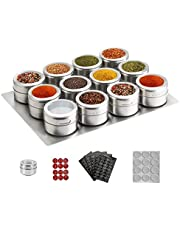 12 Magnetic Spice Tins,Stainless Steel Spice Jar Containers with Wall Mounted Spice Jars Organizer,New Design Seasoning Organizers,Includes 120 Labelling Stickers. (12pcs+ Base)