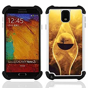 BullDog Case - FOR/Samsung Galaxy Note3 N9000 N9008V N9009 / - / nature beautiful drop tree sand desert oasis /- H??brido Heavy Duty caja del tel??fono protector din??mico - silicona suave