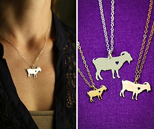 Goat Necklace - Billy Pygmy - IBD - Personalize with Name or Date - Choose Chain Length - Pendant Size Options - 935 Sterling Silver 14K Rose Gold Filled - Ships in 2 Business Days