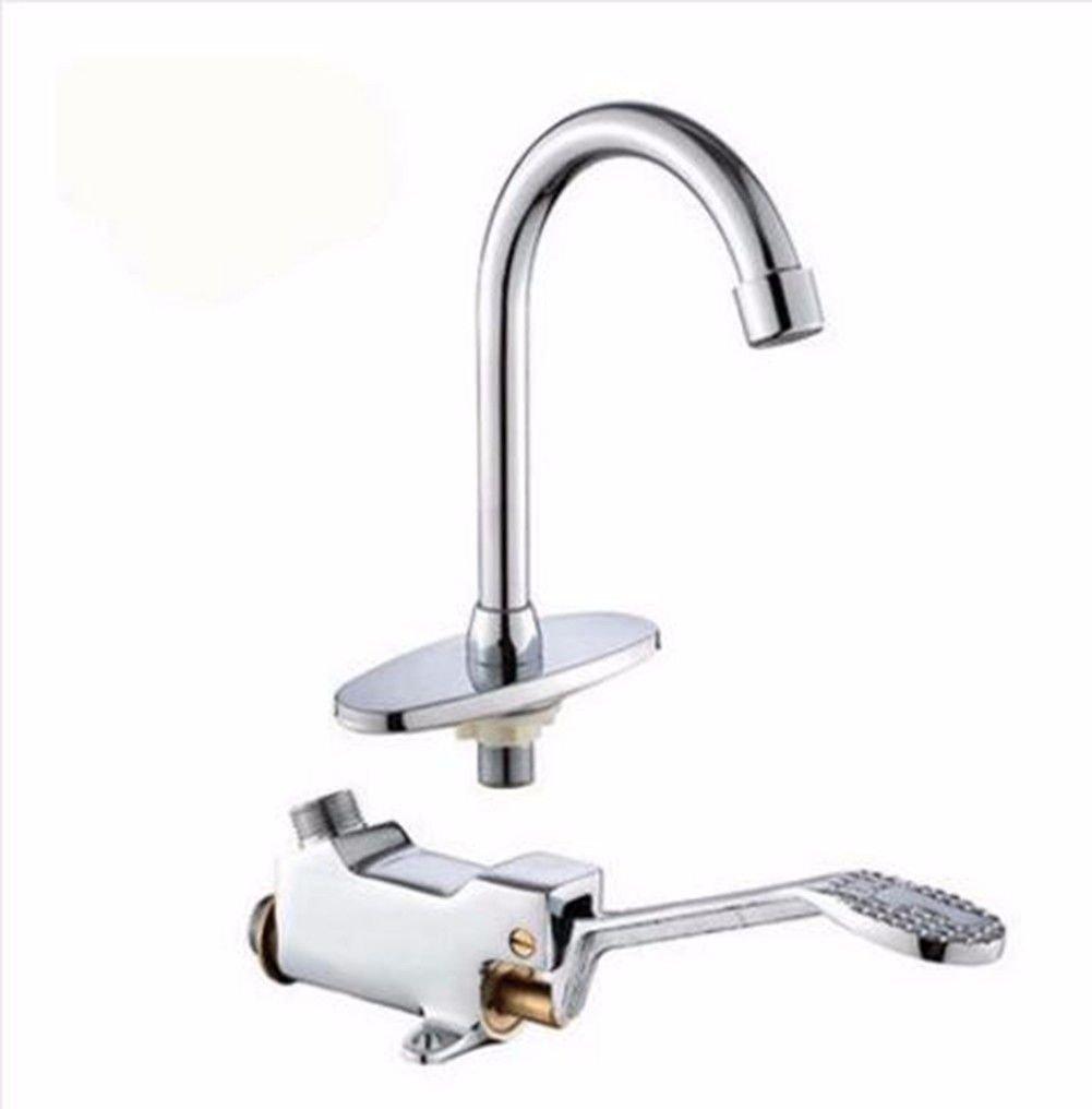 S.TWL.E Küche Küchenarmatur Waschtischarmatur Mischbatterie Spülbecken Armatur Wasserhahn Bad Fuß Lab einen Fuß Ventil voll Kupfer Fußschalter