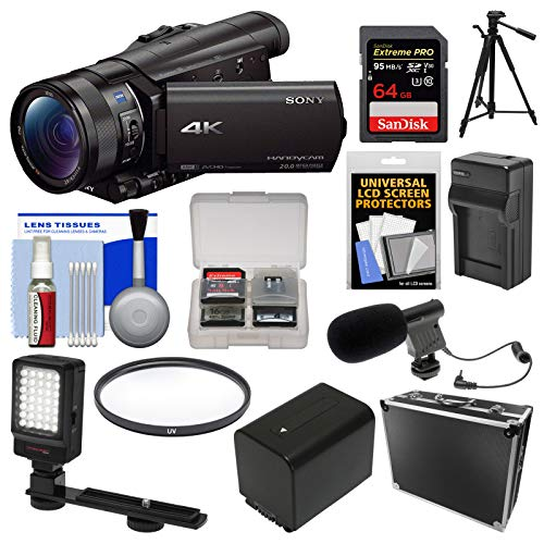 Sony Handycam FDR-AX100 Wi-Fi 4K HD Video Camera Camcorder with 64GB Card + Case + LED Light + Battery/Charger + Mic + Tripod + Filter Kit (Sony Handycam Video Camera)