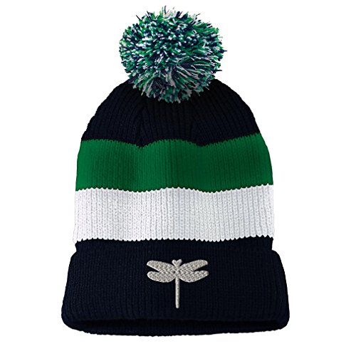 Dragon Striped Beanie - Dragon Fly Style 2 Embroidered Unisex Adult Acrylic Vintage Striped Removable Pom Pom Beanie Winter Hat - Navy/Green/White Stripes, One Size