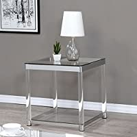 Coaster 1 Shelf Glass Top End Table in Chrome