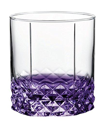 Purple Bottom Double Cut Rock Glass 10.5 - Glass Cut Purple Crystal