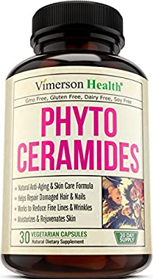Phytoceramides Skin Care, Hair & Nails Supplement. Natural Anti Aging, Rejuvenating & Moisturizing Formula with Vitamin A C D E. Helps Reduce Fine Lines, Wrinkles, Facial Redness, Dryness & Dark Spots