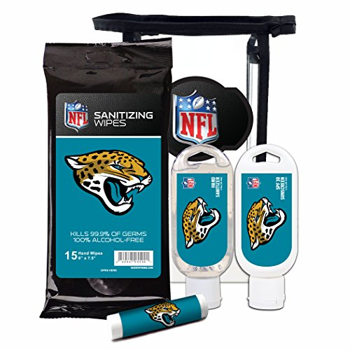 Worthy Promotional NFL Jacksonville Jaguars 4-Piece Premium Gift Set with SPF 15 Lip Balm, Sanitizer, Wipes, Sunscreen