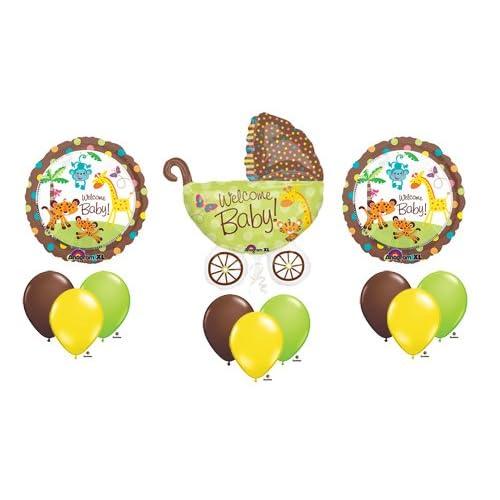 1 X Fisher Price Welcome Baby Shower Stroller Jungle Animal Pram Balloon Bouquet Set
