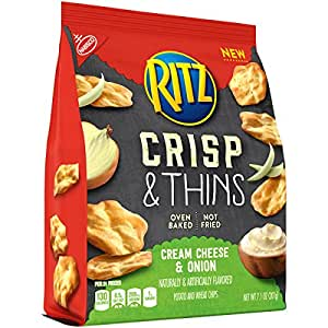 Ritz Crisp & Thins Chips, Cream Cheese & Onion, 7.1 Ounce