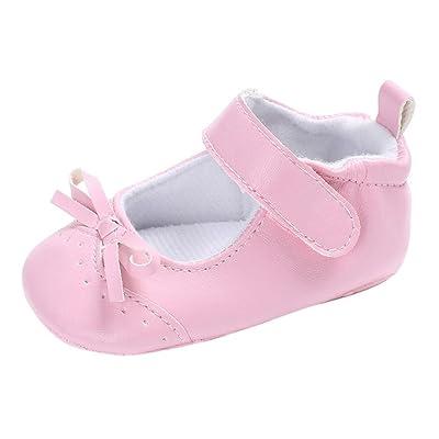 Longra Bébé Fille garçon Unisex noeud papillon Couleur unie Chaussures premiers pas Princesse Chaussures de bébé