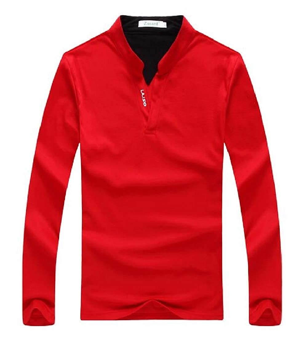 Domple Mens Casual Stretch Cotton Long Sleeve Slim Fit Stand Collar Henley Shirts