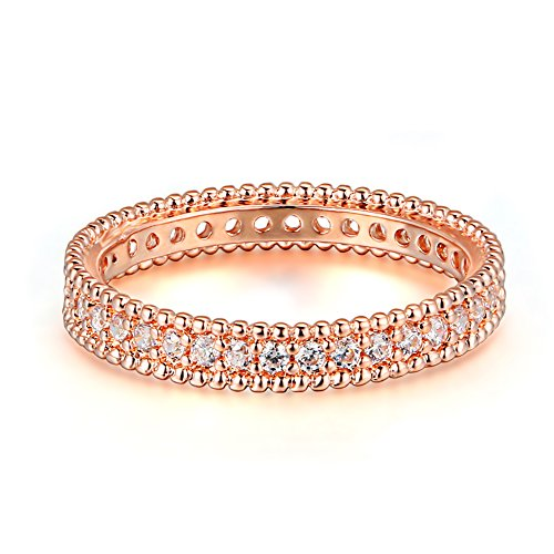 Women's 4mm Wide AAA Cubic zirconia 14K Rose Gold Plated Eternity Rings Wedding Band,Size 8 (Band Wide Gold)