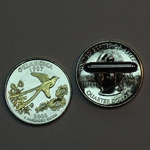 Oklahoma Statehood Quarter - Gorgeous 2 Toned (Uniquely Hand Done) Gold on Silver coin cufflinks for men - men's jewelry men's accessories for him groomsmen