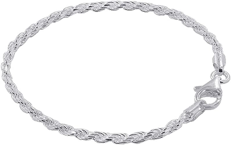 Sterling Silver 3mm Diamond Cut /& Polished Anklet Length 9 Inch With Lobster Clasp