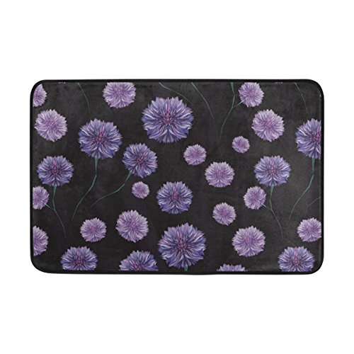 THENAHOME Doormat Super Absorbs Mud Non-Slip Indoor and Outdoor Door Mat with Blue Purple Flowers Background for Front Door Inside Floor Dirt Trapper Mats 15.7