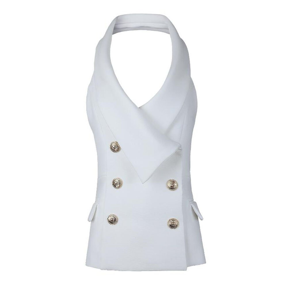 KoHuiJoo Women Halter Vest Jacket, Sexy Golden Buttons Lapel Waistcoat, Solid V Neck Sleevless Fitted Work Suit Coat (White, L)