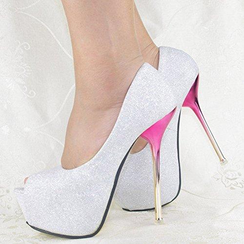GetmorebeautyUpdate - Zapatos con tacón mujer plata