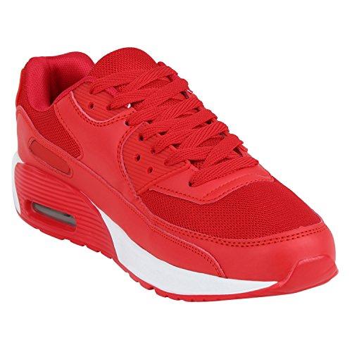 Japado Knallige Damen Herren Unisex Sportschuhe Auffällige Neon-Sneakers Sportlicher Eyecatcher Alltags-Look Angenehmer Tragekomfort Gr. 36-45 Rot Rot