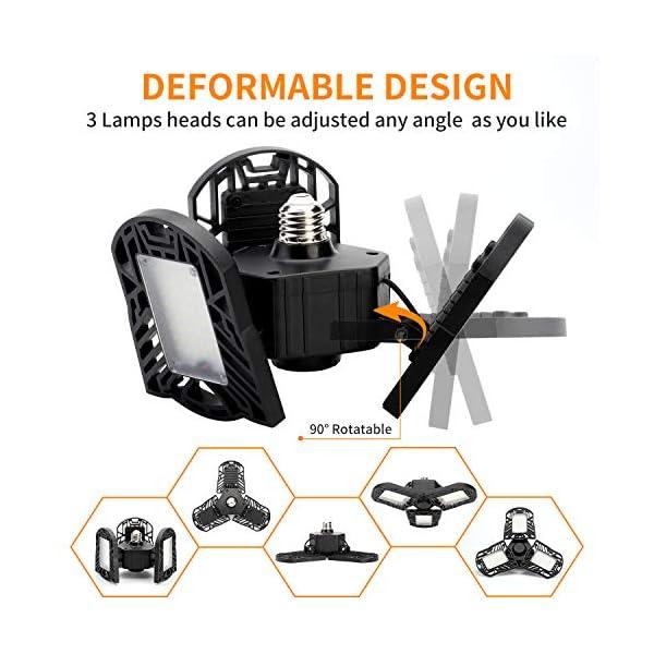 Garage Lights, LED Deformable Garage Light, Ultra-Bright Shop Lightning with 3 Adjustable Panels, Garage Ceiling Light… 2
