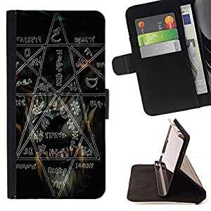 Momo Phone Case / Flip Funda de Cuero Case Cover - Bruja Rock Metal Pesado Pentagram Negro Oscuro - Sony Xperia Z5 Compact Z5 Mini (Not for Normal Z5)