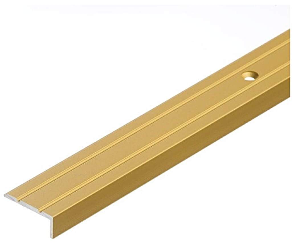 Aluminium Anti Non Slip Stair Edge Nosing 25x10 mm - 1M (39.37') Rubust Trim Drilled TMW Profiles (Gold) Cezar