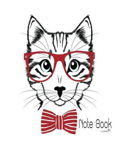Notebook: Hipster cat with red glasses V2 : Notebook Journal Diary, 120 Lined pages, 8