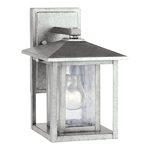 Sea Gull Lighting 88025-57 Hunnington One-Light Outdoor Wall Lantern with Clear Seeded Glass Panels, Weathered Pewter Finish - Weathered Pewter Finish