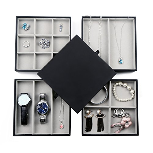 BEITEPACK Stackable Jewelry Display Trays Lid for Drawers 4 Faux Leather Storage