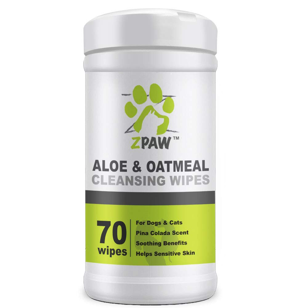 ZPAW Aloe & Oatmeal Grooming Wipes for Dogs and Cats | Pet Cleansing Wipes Used to Remove Dirt Dander Odor and Excess Hair from The Skin and Coat with Soothing Benefits for Sensitive Skin (70 Wipes)