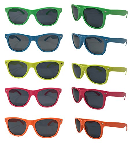 Neon Sunglasses-Neon Frames Green Blue Yellow Pink Orange Colors 5 Colors (10 Pack) Wholesale - Sunglasses Pricing